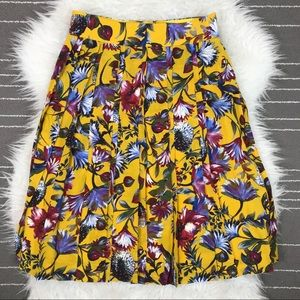 J. Crew silk double pleated floral midi skirt